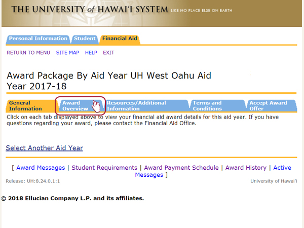 "alt=""Select Award Overview to view your award package by aid year for UH West Oahu"""