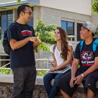 Students Talking in Courtyard