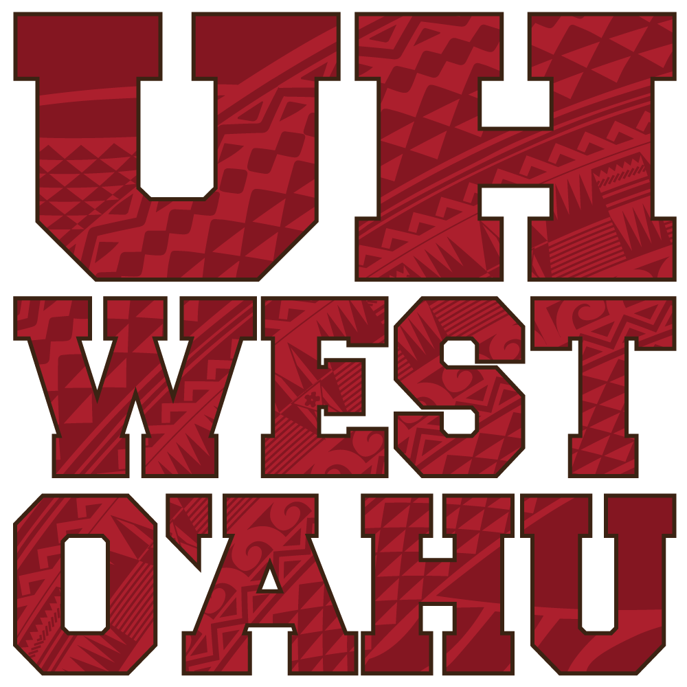 UH West Oahu Words With The Campus Red Tapa Inside Them.