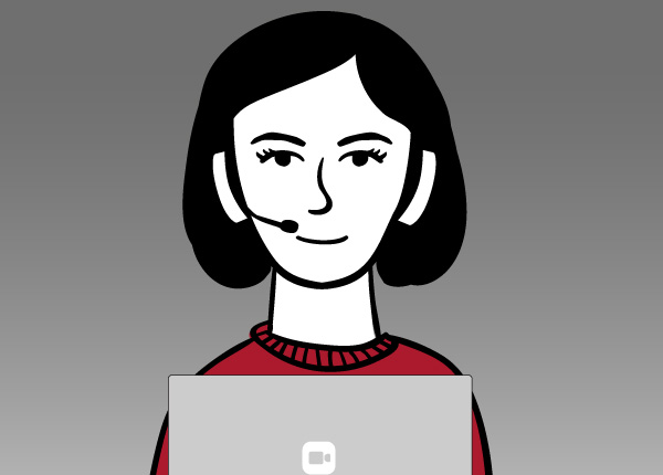 Virtual Front Desk Graphic Of A Woman Wearing A Video Conferencing Headset.